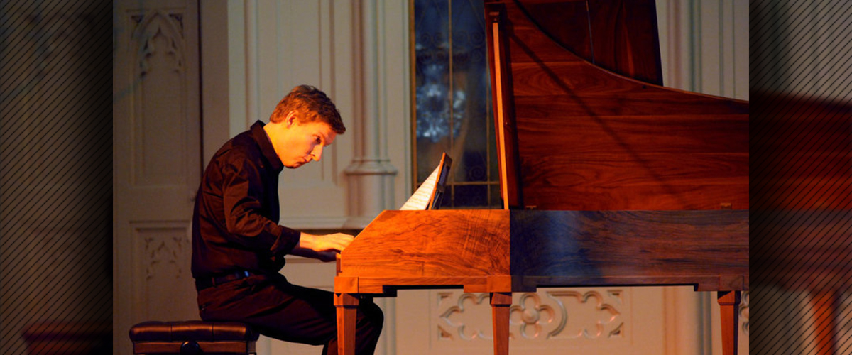 Fortepianist Kristian Bezuidenhout in performance at the savannah Music Festival in 2011. Photo ℅ Frank Stewart, the Savannah Music Festival, via npr.org.