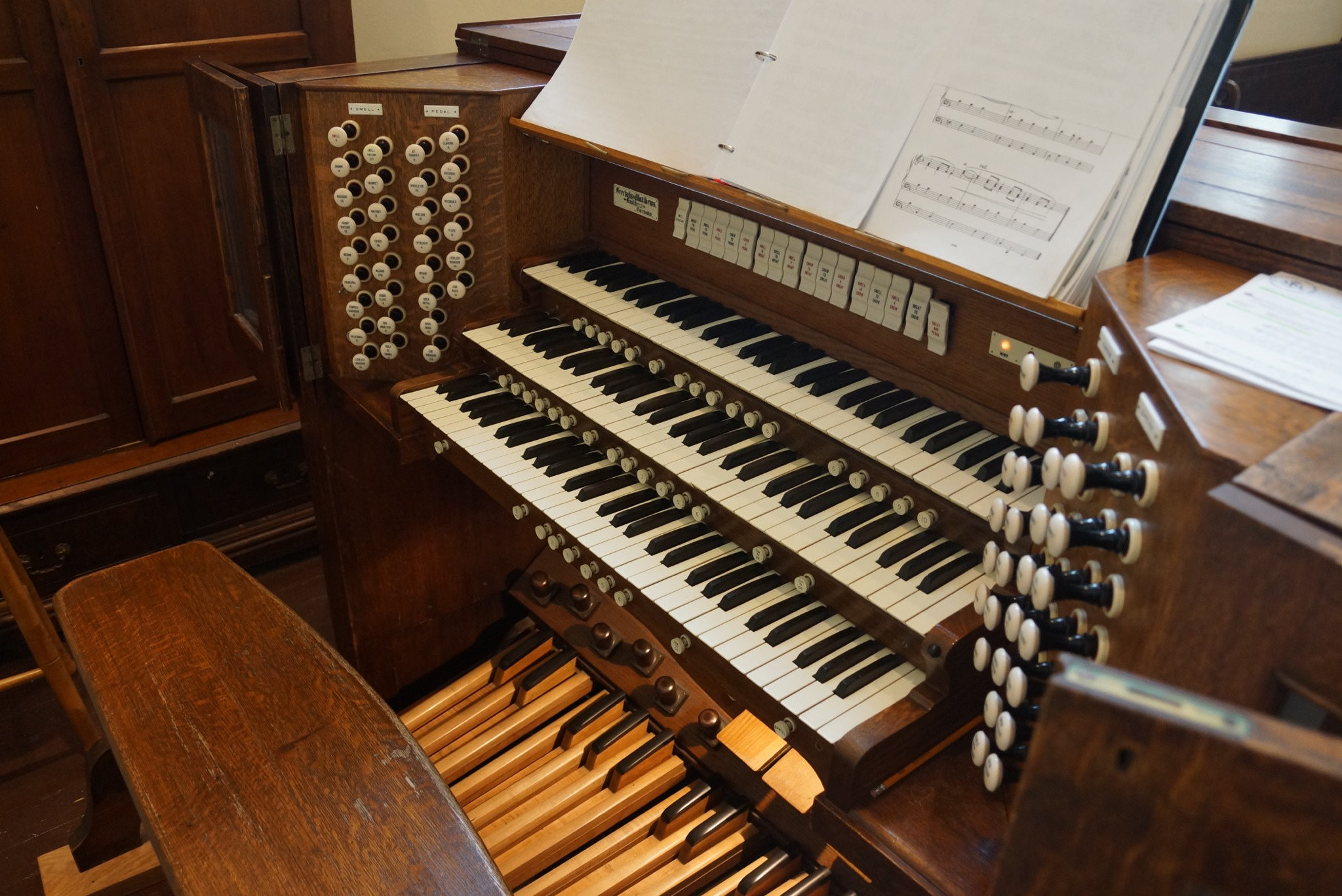 The organ of the Church of St. Mary Magdalene, built in 1906 by Breckels and Matthews.