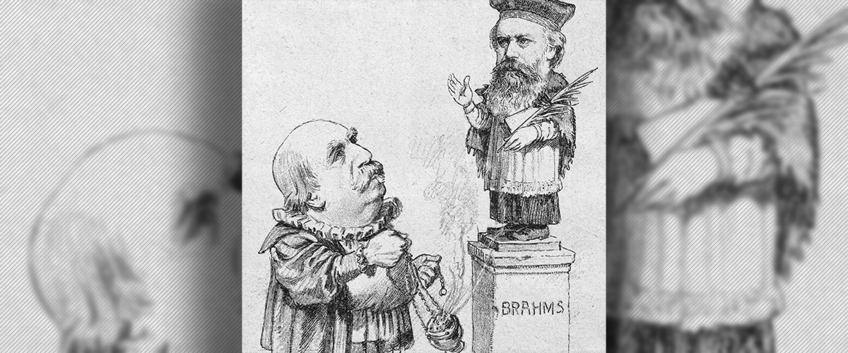 Eduard Hanslick offering incense to Brahms cartoon rom the Viennese journal Figaro 1890 banner