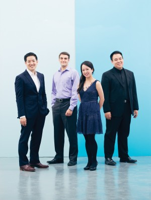 (from left) Adrian Fung, cello; Timothy Kantor, violin; Valerie Li, violin; Eric Wong, viola