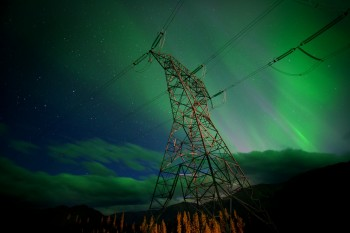 Northern Lights on the North West Transmission Line.                              A scene from KONELĪNE: our land beautiful.                             A Canada Wild Production.