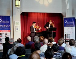 Andrew Wan and Jonathan Crow in performance at the July 27 Shuffle Concert. Photo credit: Gord Fulton.