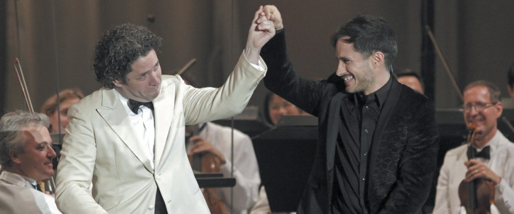 Gustavo Dudamel (left) and Gael García Bernal