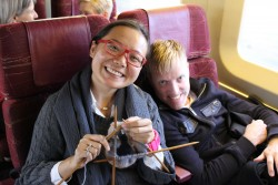Violist Teng Li and cellist Joe Johnson riding Via Rail to Brockville on the TSO BMO tour, November 17, 2012. They will join Jonathan Crow to perform Francaix's String Trio, the most straightforward (in terms of instrumentation) of the TSOCS' intriguing program.