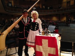 Dan (left) and Lisa Kapp, with alphorn, at a performance of an alphorn solo with Resa's Pieces Band earlier this year.