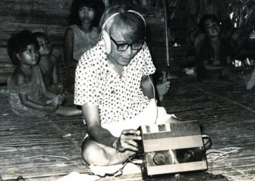 José Maceda with field recording equipment. Photo c/o Andrea Mapili.