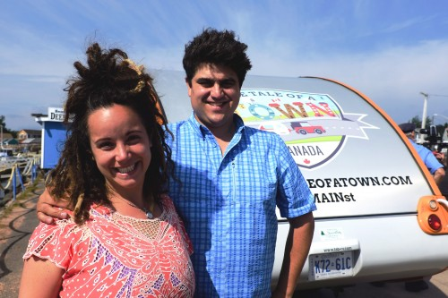 Lisa Marie DiLiberto and Charles Ketchabaw, with their Storymobile on PEI, July 2013 - Courtesy of Victory Playhouse