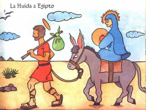 La Huida a Egipto (Escape Into Egypt), in an illustration by Juan Luis Gallardo.