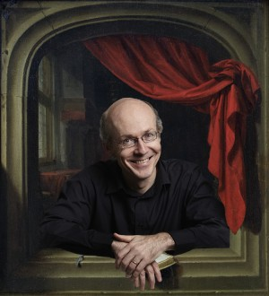 David Fallis, of the Toronto Consort. Photo credit: Paul Orenstein, digital work by Ross Duffin, background by Gerrit Dou (17th century, Dutch).