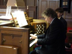 Matthew Larkin in recital on the Casavant organ in St. Matthias Anglican Church, Ottawa. Photo by Judith van Berkom.