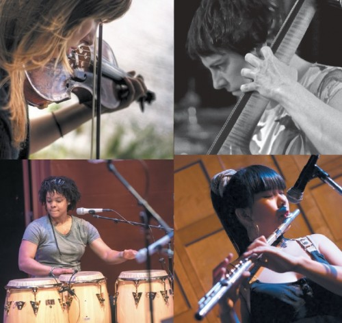 Clockwise from top left: Aline Homzy (violin), Emma Smith (bass), Anh Phung (flute), and Magdelys Savigne (drums/percussion)