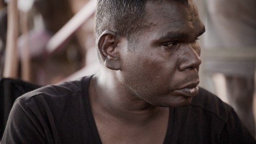 Gurrumul at home during his father's funeral.