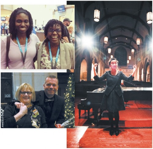 Clockwise from top left: Jenna and Karen Burke of the Toronto Mass Choir; Cheryll Chung of the Cantabile Chamber Singers (photo: Richard Jonathan Chung); Shawn Grenke of the Amadeus Choir with Mary Lou Fallis