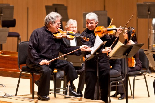 Peter Oundjian and violinist Itzhak Perlman perform Bach's 'Concerto for Two Violins' with TSO - photo by Dale W