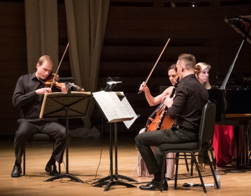 (from left) Jonathan Crow (violin), Julie Albers (cello), Miles Jaques (clarinet) and Natasha Paremski (piano) perform Messiaen's 'Quartet for the End of Time.'
