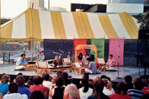 Evergreen Club Gamelan performing on the Anne Tindall stage at the first Toronto WOMAD, August 14, 1988. Photo by Ramona Timar.