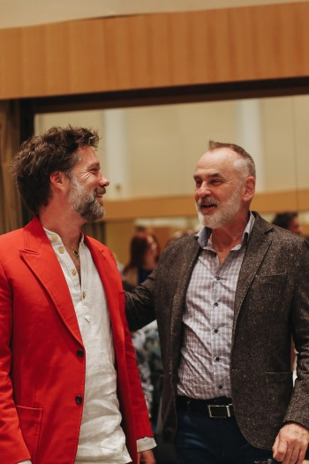 (from left) Composer Rufus Wainwright and librettist Daniel MacIvor at the first read-through of Hadrian's score, May 2018. Courtesy COC