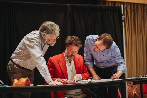 (from left) Assistant conductor Derek Bate, composer Rufus Wainwright, and COC Music Director Johannes Debus at the first read-through of Hadrian's score, May 2018. Courtesy COC