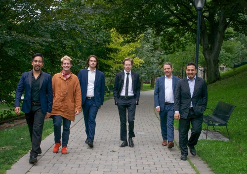 Five countertenors to perform at Kingston Road Village Concert Series: (from left) César Aguilar, Ryan McDonald, Ian Sabourin, Benjamin Shaw, Daniel Taylor and Miguel Brito (pianist). Photo credit KAREN E. REEVES