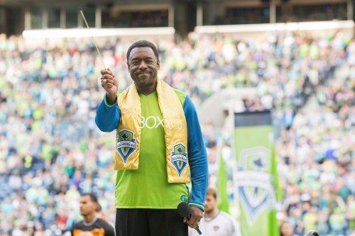 The Nathaniel Dett Chorale's composer-in-residence, Dr. Stephen Newby in his role as national anthem singer for the Seattle Sounders FC.