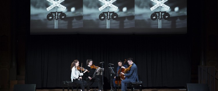 The Rolston String Quartet performing Reich's Different Trains on February 2. Photo credit: Claire Harvie.