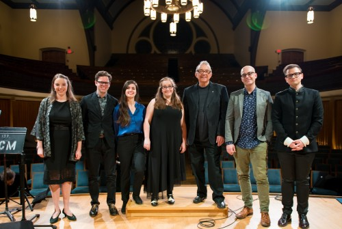 Esprit's Ontario Resonance mentors' finale concert, November 2017, at Trinity-St Paul's Centre. (L to R) Soprano Rebecca Gray; composers Chris Thornborrow, Christina Volpini, & Bekah Simms; Esprit Orchestra conductor Alex Pauk; composer Adam Scime; composer and conductor Eugene Astapov. The mentors pictured worked with students from 6 schools across the GTA on student compositions. The mentors were each commissioned to write a piece of their own, which were premiered that evening. Photo by Kevin Lloyd