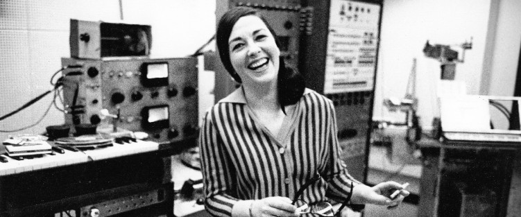Norma Beecroft taking a break while working on the tape part for Two Went to Sleep (1967) in the University of Toronto Electronic Music Studio (UTEMS). Photo © John Reeves