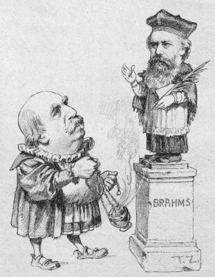 Nineteenth-century music critic and Brahms champion, Eduard Hanslick, offering incense to the bust of Brahms [Viennese Figaro, 1890].