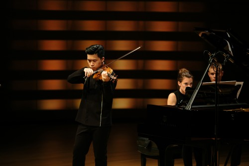 Kerson Leong, violin, and Rachael Kerr, piano. Photo credit: Sean Howard.