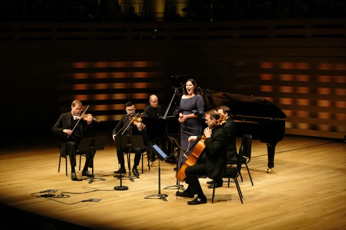 Soprano Adrianne Pieczonka, pianist Steven Philcox and the New Orford String Quartet. Photo credit: Sean Howard.