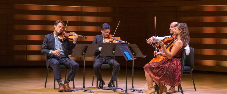 The Dover Quartet in Koerner Hall. Photo credit: James Ireland.