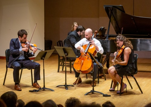 Joel Link, violin; Charles Richard-Hamelin, piano; Camden Shaw, cello; Milena Pajaro-van Stadt, viola. Photo credit: James Ireland.