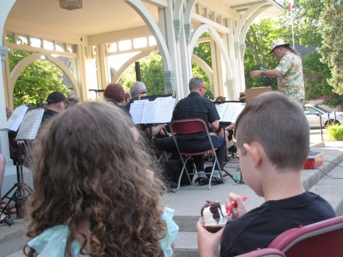The Encore Symphonic Concert Band at the Millennium Bandstand in Unionville. Photo by Jack MacQuarrie