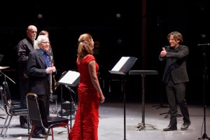 Co-artistic directors Brian Current (conductor) and Robert Aitken (alto flute) congratulate contralto Patricia Green following a performance of Le Marteau sans maître by Pierre Boulez. Also pictured: Douglas Perry (viola) and (obscured) Rob MacDonald (guitar). Photo by Daniel Foley