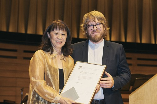 Alexina Louie and the Canada Council's Marc-Olivier Lamontagne. Photo by Malcolm Cook