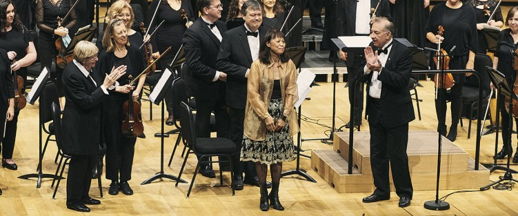 Alexina Louie with Lydia Adams (left) and Alex Pauk, conductor, Esprit Orchestra (right). Photo by Malcolm Cook