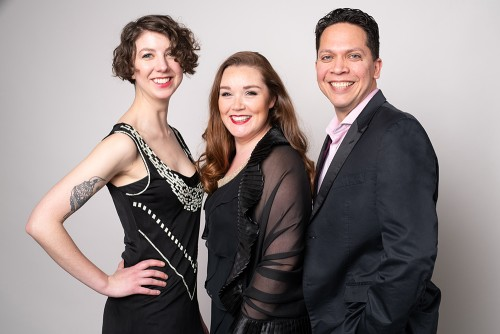 The cast of Crossing Borders. (from left) Claire Harris, Maureen Batt, Fabian Arciniegas. Photo by Dahlia Katz