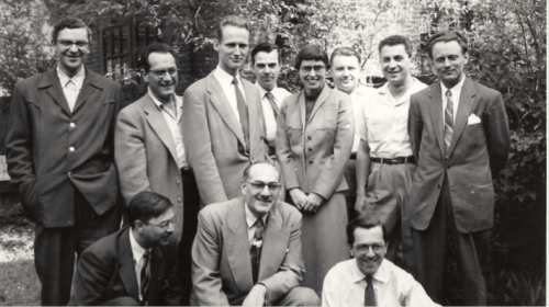 Canadian League of Composers, 1955.  Front (L-R): Jean Papineau-Couture, John Weinzweig, John Beckwith. Back (L-R): Louis Applebaum, Samuel Dolin, Harry Somers, Leslie Mann, Barbara Pentland, Andrew Twa, Harry Freedman, Udo Kasemets
