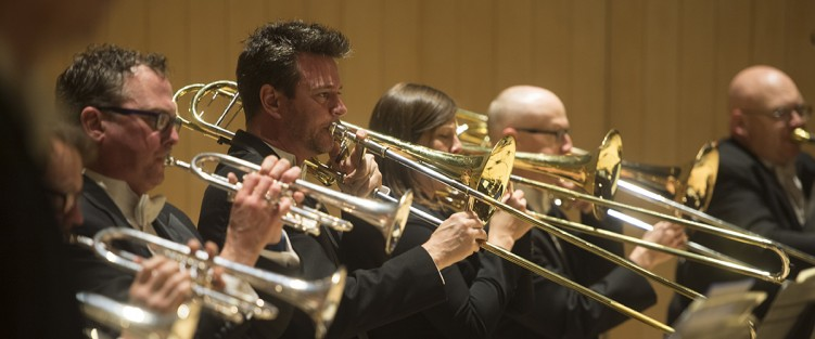 The TSO trombone section - Gordon Wolfe, centre. Photo by Jag Gundu