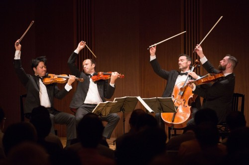 The Miró Quartet at Weill Hall performing their Kneisal Quartet program