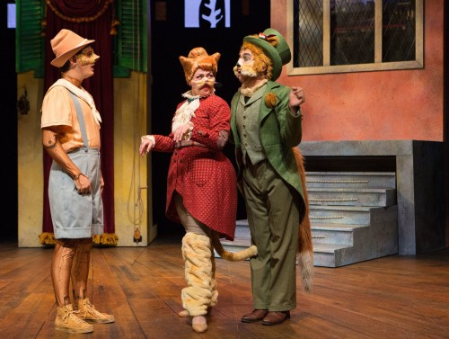 Connor Lucas (left) in YPT's Pinocchio, with Arena Hermans as Cat (centre) and Joel Cumber as the Fox. Photo by Cylla von Tiedemann.