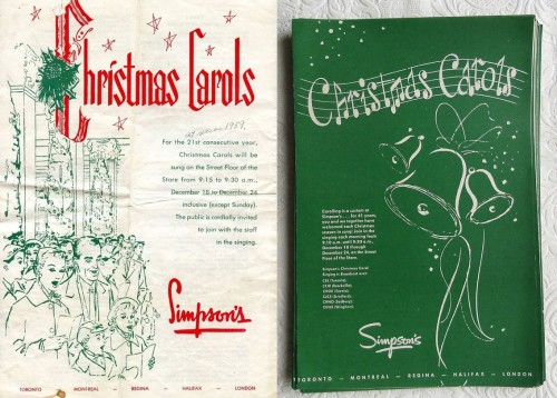 Simpsons carol book and catalogue, 1959