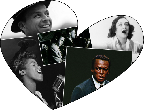 Clockwise from top left: Frank Sinatra, Chet Baker & Gerry Mulligan, Lee Wiley, Miles Davis, Sarah Vaughan. Sarah Vaughan photo by William P. Gottlieb