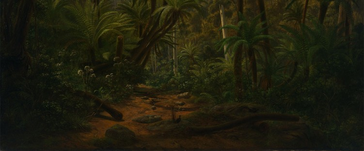 Eugene von Guerard's oil painting Ferntree Gully in the Dandenong Ranges (1857), featuring two lyrebirds in the foreground.
