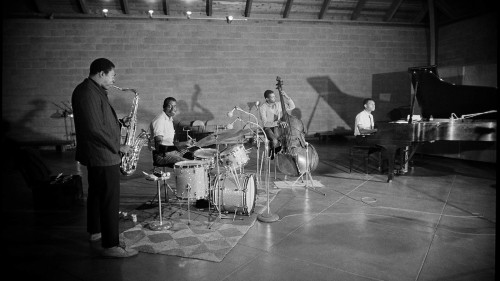 Rhythm section of John Coltrane's classic quartet recording at Van Gelder Studios in 1963. Photo credit Jim Marshall Photography