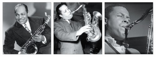 (from left): Coleman Hawkins, Lester Young, Wayne Shorter