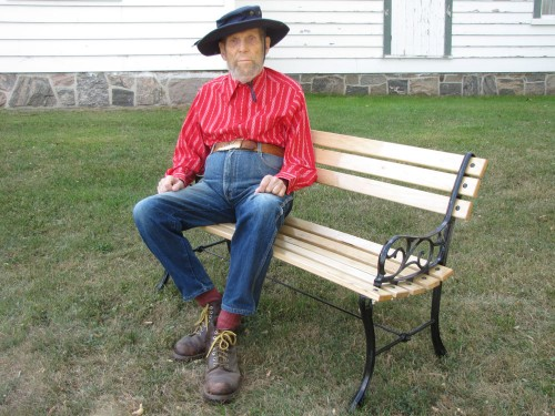 Uxbridge Museum Heritage Day - I was dressed for the occasion and sitting on a bench that I donated.
