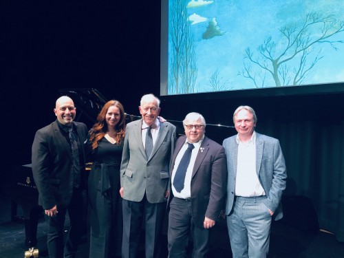 At the Crescent Theatre, Belfast in May 2019: (left to right) Carl Philippe Gionet, Christina R. Haldane, Seán Haldane, David Jaeger C. M., David Cameron. Photo by Ghislaine Lanteigne.