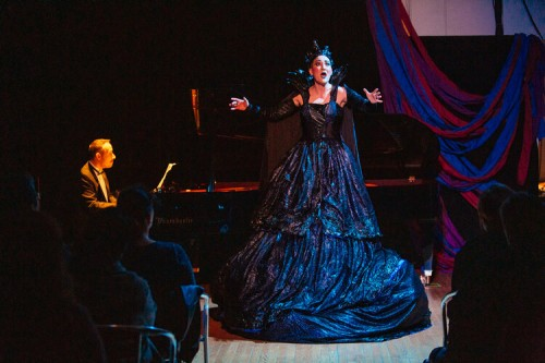 Teiya Kasahara (R) performing The Queen in Me in October 2019 at Amplified Opera's inaugural concert series. Photo credit: Tanja Tiziana.