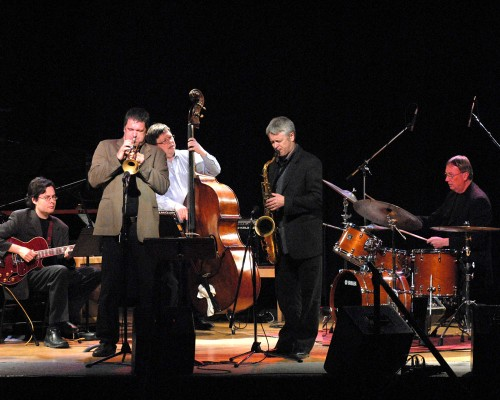 Steve Wallace, centre, in friendlier times, with the Barry Elmes Quintet. Photo by Don Vickery